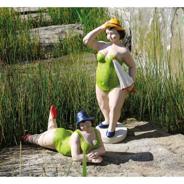 Nostalgie Badefigur Beachlady - XL Schwimmerin dicke Dame Becky in grüntönen