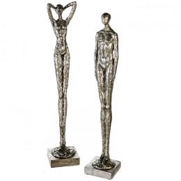 Akt Skulptur Mann und Frau - Liebespaar - Dekofigur - moderne Plastik Figur Millenium
