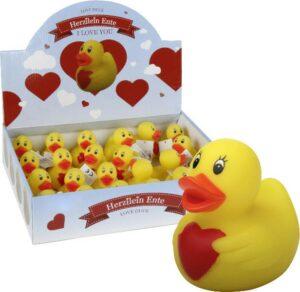 Herzilein Ente - Badeente mit Herz - Badequietscheentchen verliebt