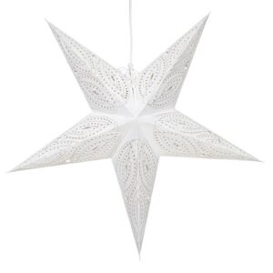 Weihnachtsstern weiß - Stern Bianco - Advents-Leuchtstern - Papierstern 5 Zacken, 65cm