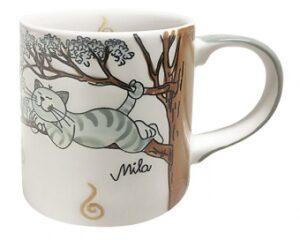 Mila Oommh Pure Relax - Yoga Katze Becher 280 ml - Tasse - Henkelbecher - Keramik