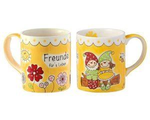 Mila Gartenzwerge Freunde fürs Leben Becher - 280 ml - Tasse - Henkelbecher - Keramik 80304