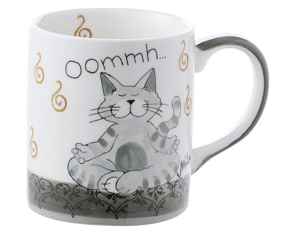 Mila Oommh Pure Yoga Katze Becher 280 ml - Tasse - Henkelbecher - Keramik
