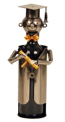 Flaschenhalter Student Skulptur mit Doktorhut - Metall Weinflaschenständer