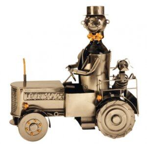Wein-Flaschenhalter Treckerfahrer mit Hund Skulptur Traktor Bullldog mit Farmer, aus Metall - Weinflaschenhalter Landwirt - Bauer