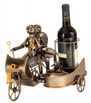 Wein-Flaschenhalter Skulptur Motorrad mit Beiwagen und Schraubenfiguren Paar