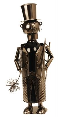 Flaschenhalter Schornsteinfeger Weinflaschenhalter Skulptur Kaminkehrer, Metall