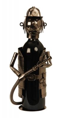 Weinflaschenhalter Feuerwehr Skulptur Feuerwehrmann mit Feuerwehrschlauch