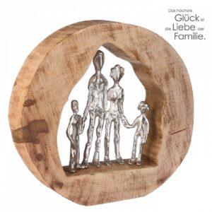 Mangolholz Skulptur Familie - We are Family Dekoobjekt mit Zitatanhänger