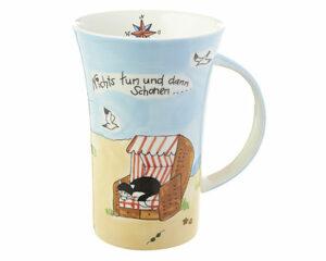 Mila Strandidylle mit Kater Carlo - Katze im Strandkorb Coffee Pot 500 ml - Tasse - Becher - Keramik