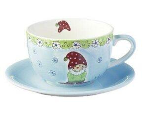 Mila Herr Fröhlich Jumbo Tasse mit Untertasse - Keramik - Zwerg Cappuccino Tasse
