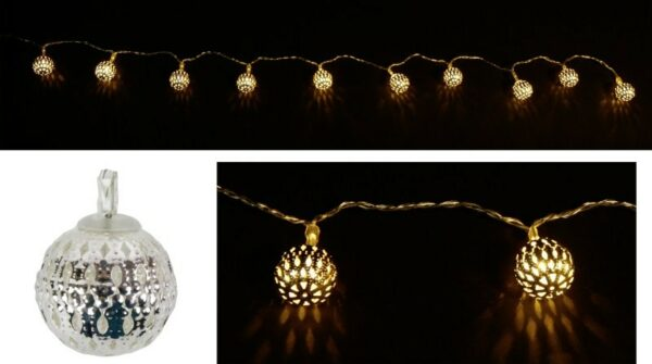 LED-Lichterkette Kugel, silber, 120 cm Ø 2,5 cm, 10 warmweiße LED