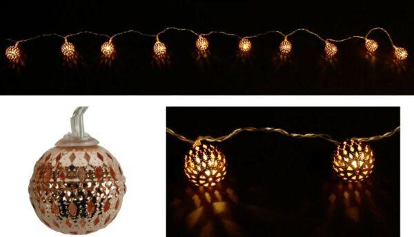 LED-Lichterkette Kugel, kupfer, 120 cm Ø 2,5 cm, 10 warmweiße LED