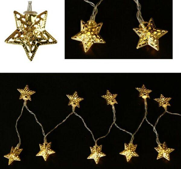 LED-Lichterkette Sterne, gold, 165 cm, D 4 cm, 10 warmweiße LED, batteriebetrieben