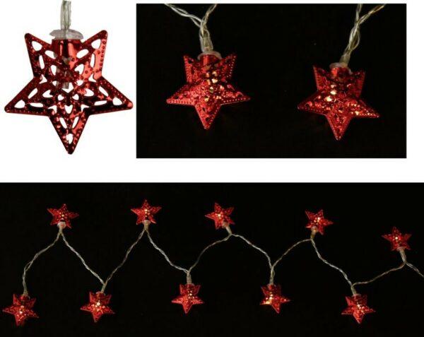 LED-Lichterkette Sterne, rot, 165 cm, D 4 cm, 10 warmweiße LED, batteriebetrieben