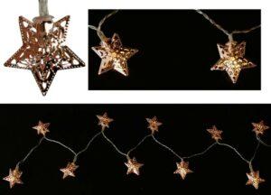 LED-Lichterkette Sterne, kupfer, 165 cm, D 4 cm, 10 warmweiße LED, batteriebetrieben