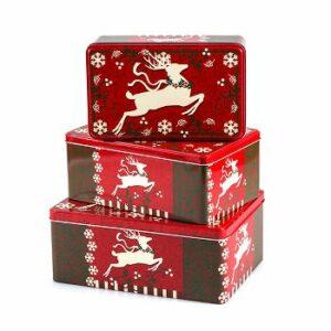 Box Elch - Weihnachtliche Metallbox Plätzchendose - Rentier Keksdosen Set + verschiedene Größen (17 - 21 cm, 3er Set)