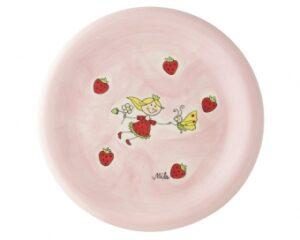 Mila Teller Erdbeer Fee Geschirr – Keramik Kinderteller Erdbeerfee Durchmesser 22 cm