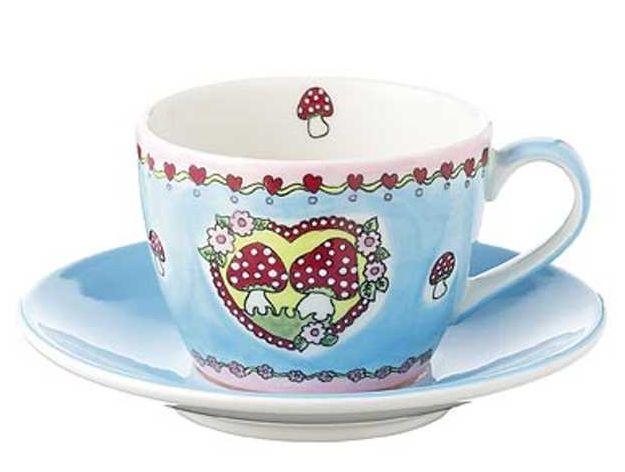 mila gl ckspilze bord re rosa cappuccino set tasse mit untertasse keramik traumflug. Black Bedroom Furniture Sets. Home Design Ideas
