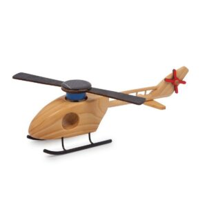 Holz Hubschrauber Solar, mit angetriebenem Rotor, Helikopter Solar natur