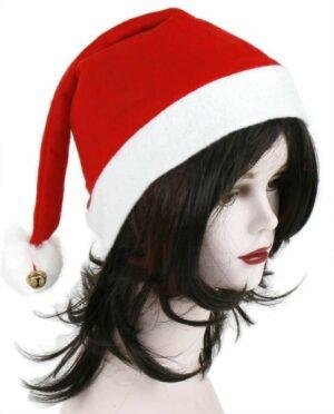 Weihnachtsmütze mit Glocke, Filz, rot/weiss - Nikolausmütze