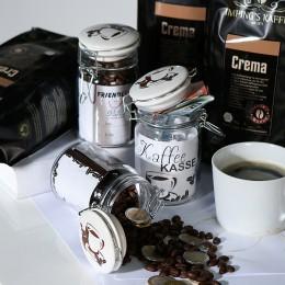 Friendly Glas mit Keramik-Deckel, luftdicht, mit Banderole zur Personalisierung - Geschenkverpackung Kaffekasse