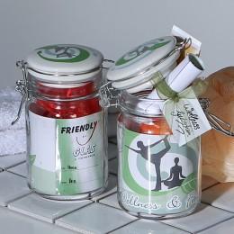 Yoga Friendly Glas mit Keramik-Deckel, luftdicht, mit Banderole zur Personalisierung - Geschenkverpackung Wellness