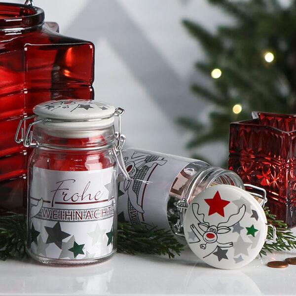 Friendly Glas mit Keramik-Deckel, luftdicht, mit Banderole zur Personalisierung - Geschenkverpackung