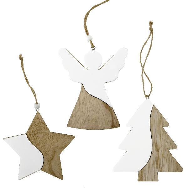 Schutzengel Hänger - Stern Weihnachtsbaumhänger, Adventsdeko Weihnachtsbaum Hänger, 2farbig MDF/Kunstoff weiß Anhänger Engel, Stern, Baum