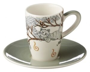Mila Oommh Pure Relax -Yoga Katze Espresso-Set - Tasse mit Untertasse - Keramik