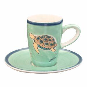 Mila Ocean Love - Schildkröte Espresso-Set Mila Espresso Tasse mit Untertasse