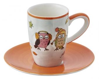 Mila Eulen Paar Kuschelzeit - Espresso-Set - Tasse mit Untertasse - Keramik