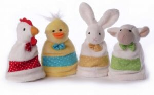 tierische Eierwärmer Hahn, Ente, Hase, Schaf, 4er-Set Freche Eierbande