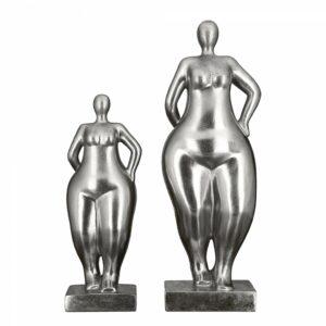 Frauen Skulptur Ballerina silber Antikfinish - Mollige Dame auf Basis