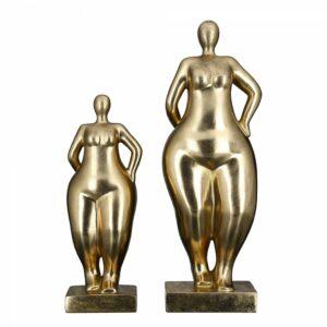 Frauen Skulptur Ballerina gold Antikfinish - Mollige Dame auf Basis