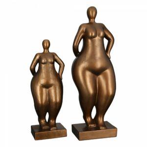 Frauen Skulptur Ballerina Bronze Antikfinish - Mollige Dame auf Basis