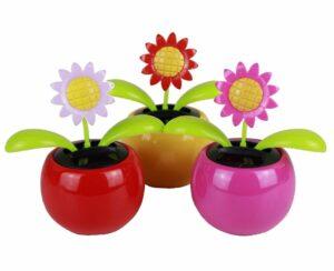 Solar Wackelblume - tanzende Sonnenblume - Bewegliche Blume im Kunststoff-Topf