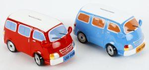 Spardose Bus, Bulli Reisespardose - Retro Auto Reisekasse
