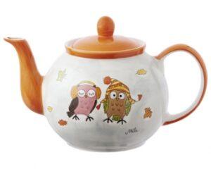 Mila Eulen Paar Kuschelzeit Kanne 1,2 L - Teekanne - Keramik Teekanne Herbst