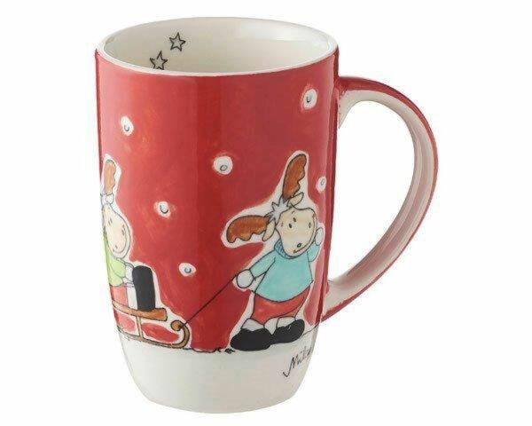 Mila Elch Familie Designbecher 230 ml - Keramik Weihnachtsbecher