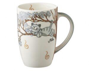 Mila Oommh Pure Relax - Yoga Katze Designbecher 230 ml - Tasse - Henkelbecher - Keramik
