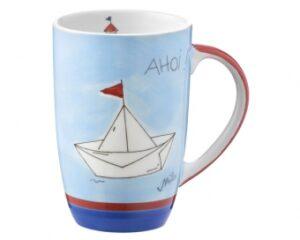 Mila Ahoi Designbecher - 230 ml - Becher maritim - Henkelbecher mit Segelboot