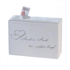 """Spardose Hochzeit """"Promise"""" mit Schriftzug """"Hand in Hand ein Leben lang!"""" Verlobung Freundschaft"""