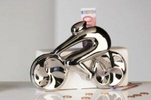 Fahrrad Spardose Cycle - Spinning Rennrad Skulptur - Porzellan weiß/silber Sparkasse Fahrradfahrer Sparbüchse