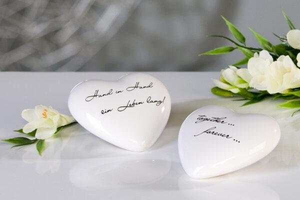 """Porzellan Herz - Zitat Herzen """"Promise"""" mit Schriftzug zum Hochzeitsversprechen"""