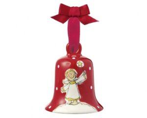 Mila Glocke Engel Tim, groß - Weihnachtsglocke aus Keramik in Geschenkverpackung