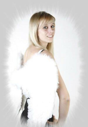 Engel Flügel, Engelsflügel mit Federn, weiß 60 x 50 cm, Schwingen Engelchen Kostüm Karneval, Fastnacht, Weihnacht