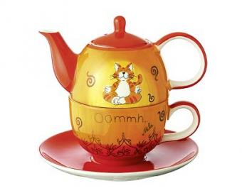 Mila Oommh Tea for one Yoga Katze - Teekanne 0,4 L mit Tasse und Untertasse + Geschenkverpackung