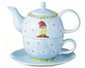 Mila Zwerg Herr Fröhlich - Tea for one - Teekanne 0,4 L mit Tasse und Untertasse + Geschenkverpackung - Keramik