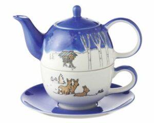 Mila Wildpark Tea for one - Reh Teekanne 0,4 L mit Tasse und Untertasse + Geschenkverpackung - Keramik